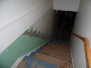 The green paint shows the silhouette of the old, steep stairs