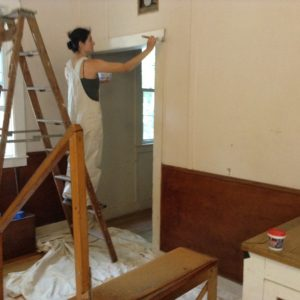 16-08-04 interior painting--Marisa paints trim