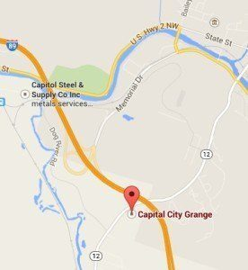 Capital City Grange in Montpelier is located on Northfield Street/Route 12 just south of the I-89 overpass. Click for an interactive map.